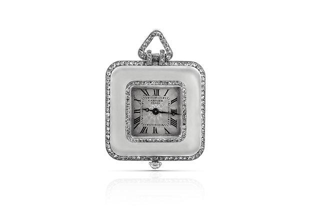 Art Deco Cartier Pendant Watch Front View
