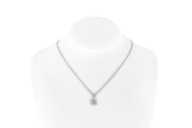 Diamond Star Pendant Necklace Neck View
