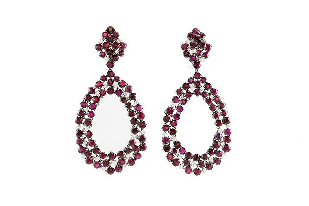 White Gold Ruby And Diamond Drop Earrings front