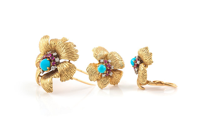 Flower Earrings and Brooch Set by Mauboussin