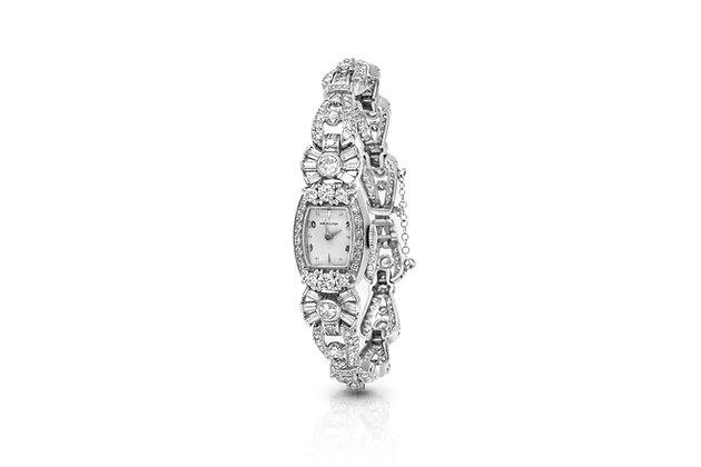 Platinum Hamilton Diamond Watch Front View