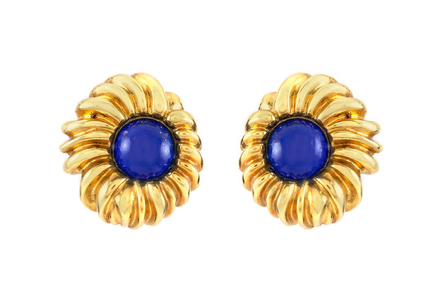 Tiffany & Co. Shrimp Style Lapis Earrings front view