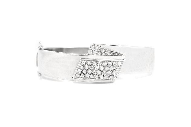 White Gold Diamond Bangle Bracelet front view
