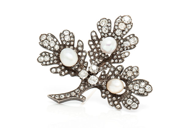 Antique Pearl Diamond Leaf Brooch Front View