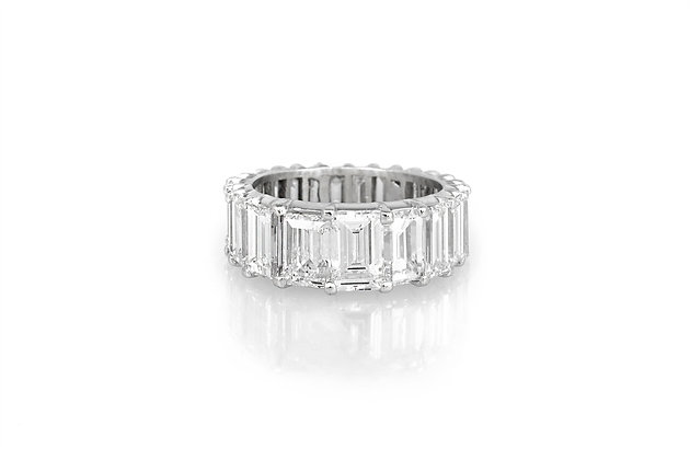 8.00 Carat Emerald Cut Eternity Band front