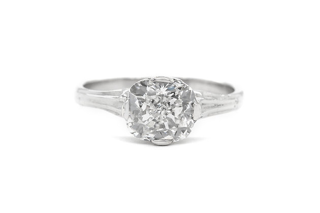 GIA 2.02 Carat Elongated Cushion Cut Engagement Ring