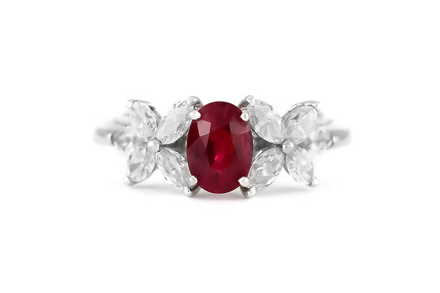 1970s Ruby Ring with Diamonds