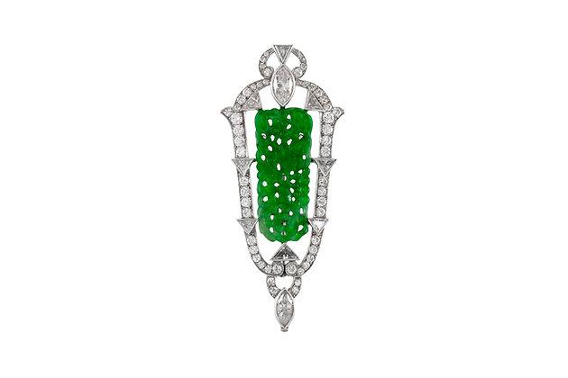 1930s Platinum Jade Pendant front