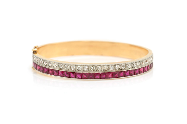 Ruby and Diamond Bangle Bracelet front view