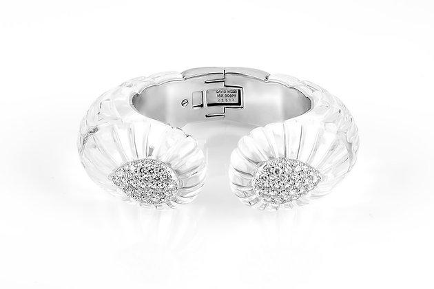 David Webb Rock Crystal And Diamond Cuff Bracelet Front View