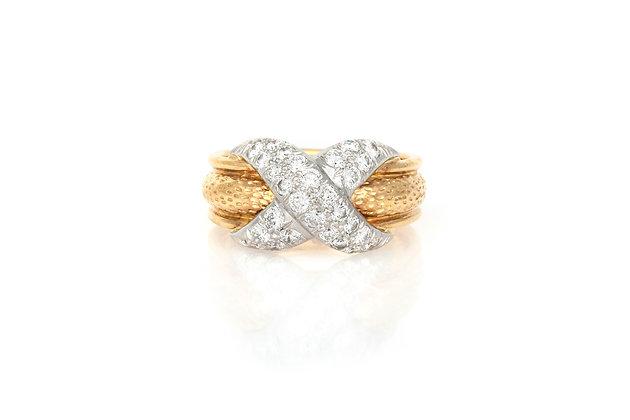 Tiffany & Co. Pavé X Ring top view