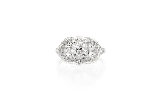 1.00 Carat Art Deco Engagement Ring top view