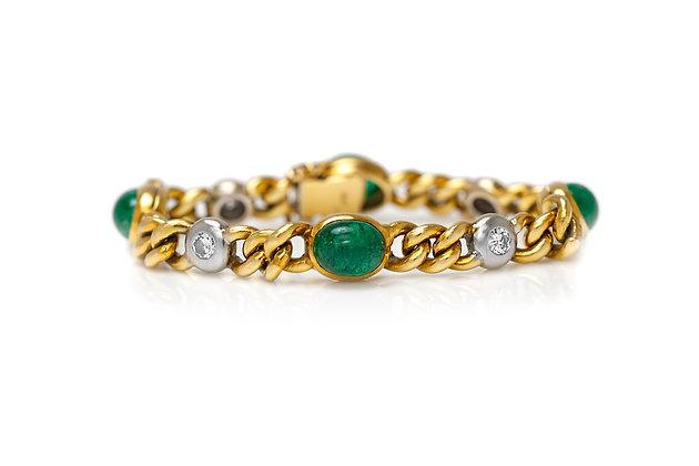 1960's Emerald Diamond Gold Bracelet Front View