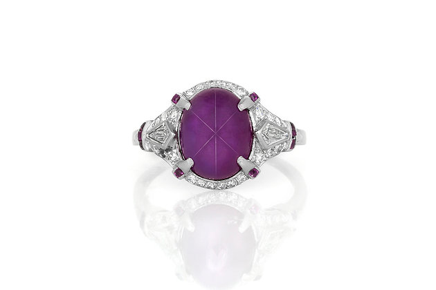 7.00 Carat Art Deco Star Ruby Ring