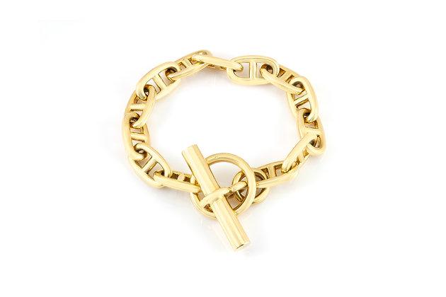 Hermes 18 Karat Link Bracelet front view
