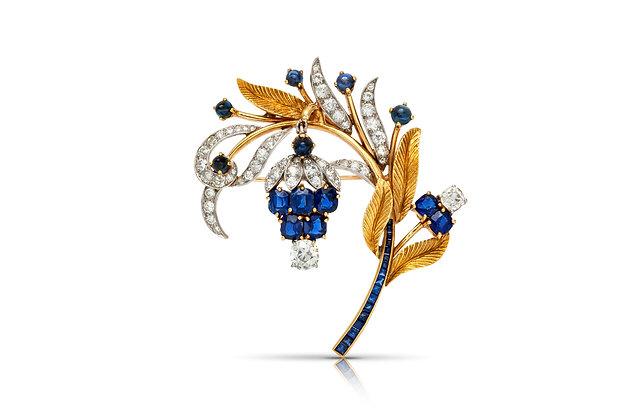 Sapphire Diamond Brooch Front View