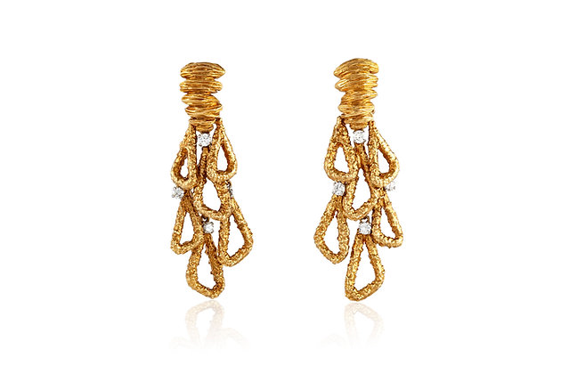 Vintage Drop Gold Diamond Earrings front view