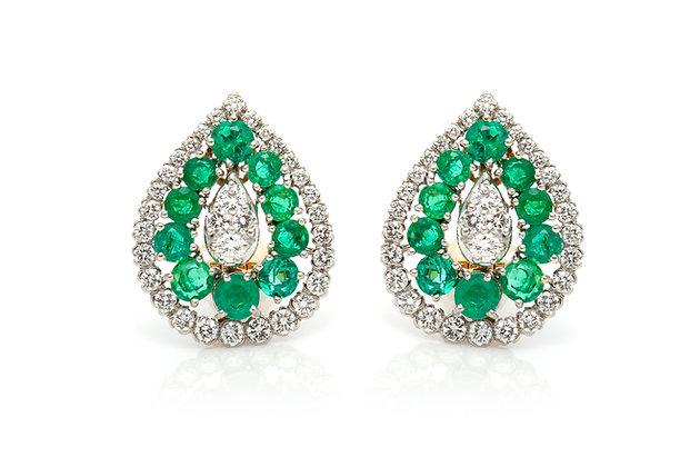 David Webb Drop Emerald Diamond Earrings Front View
