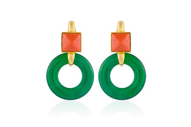 Cartier Aldo Cipullo, Coral and Chrysoprase Earrings