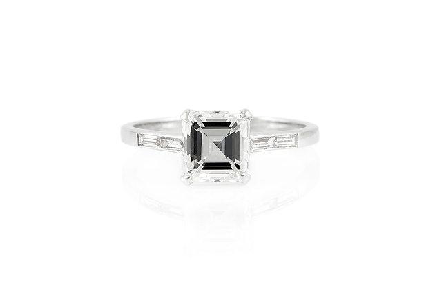 Engagement Ring 2.01 Carat Square Emerald Cut Diamond Top