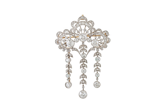Edwardian 18k Gold Diamond Pin