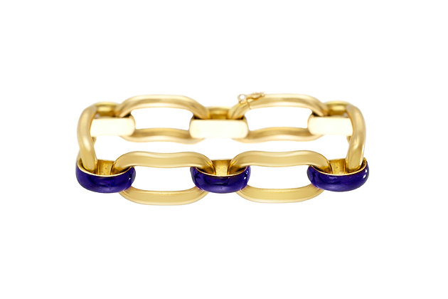Unoaerre 18k Gold Link Bracelet with Blue Enamel
