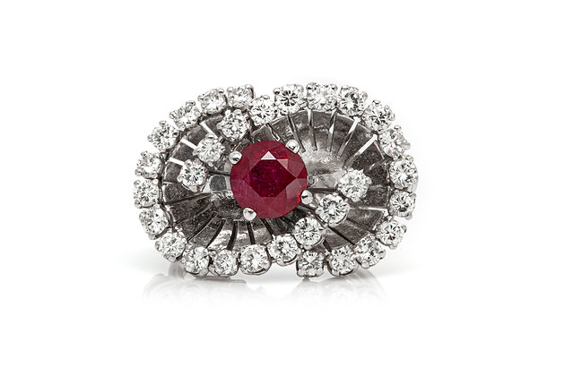 Cocktail Ring With Ruby And Diamonds Front View