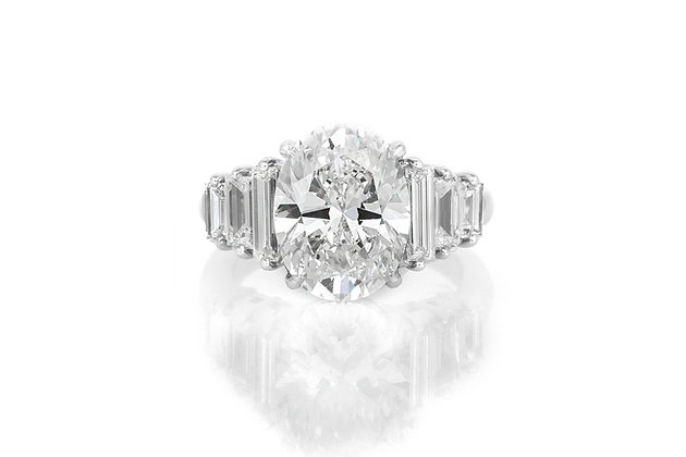5.23 Carat Oval Brilliant Cut Engagement Ring top view