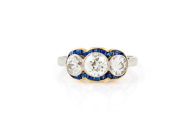 Three Stone Diamond Ring front