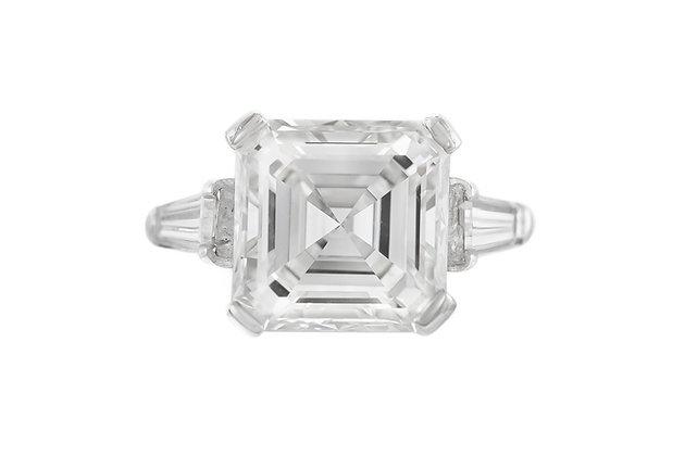 6.17 Carat GIA Square Emerald-Cut Diamond Ring