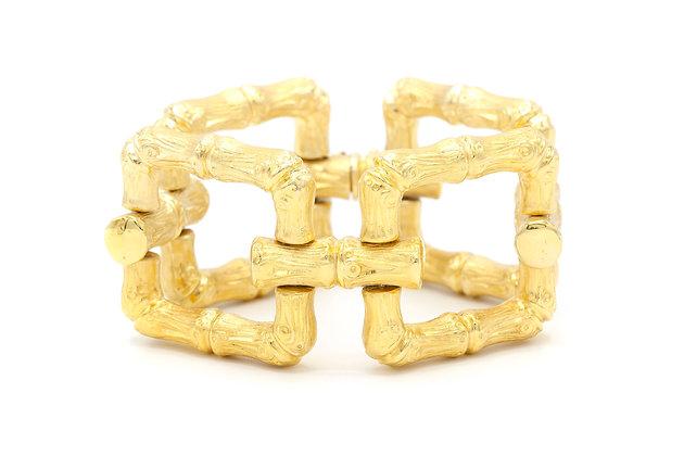 14K Gold Bamboo Link Bracelet