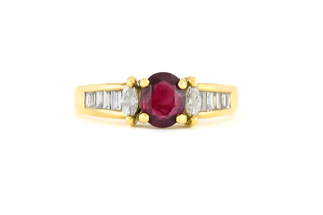 1980s Pear Baguette Diamonds and Center Ruby Ring