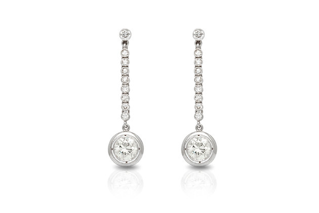 Diamond Platinum Drop Earrings Front View