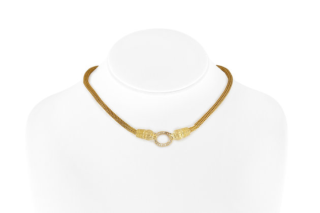 Two Head Diamond Necklace front view