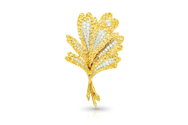 Diamond Leaf Brooch Front View