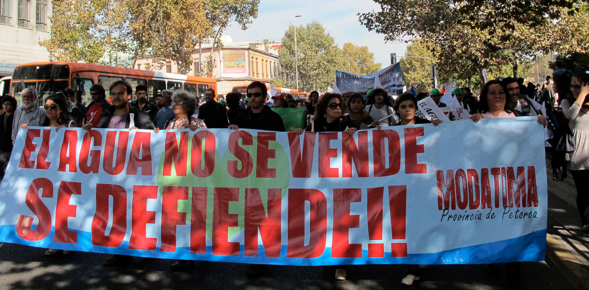 Water march in Santiago, Chile