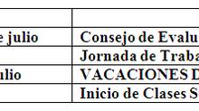 Circular Julio (Vacaciones, Reuniones CGPA, Entrega de Notas Semestrales)