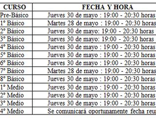 Actividades Mayo (Reuniones Microcentro, Día de la Madre, Día del Estudiante, Interferiado, Encuentr