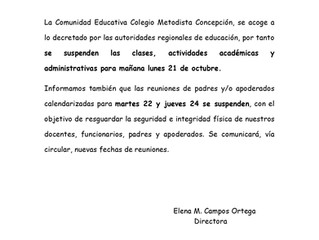 Comunicado Oficial - Domingo 20 de Octubre, 2019