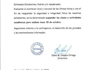 Comunicado Oficial - Domingo 27 de Octubre, 2019.