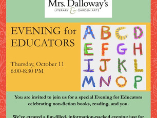 Educators' Night at Mrs. Dalloway's Bookstore in Berkeley