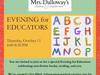 Educators' Night at Mrs. Dalloway's Bookstore in Berkeley