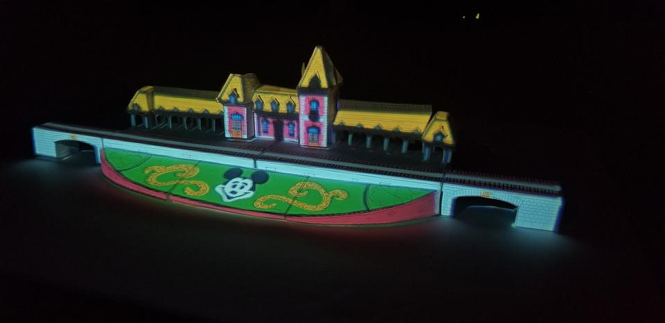 Disneyland Train Station Cutout projection mapped