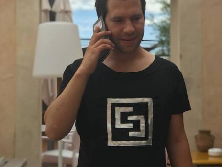 French singer Jean-Charles Wery in T-shirt by Ewa Stepaniuk Fashion Designer
