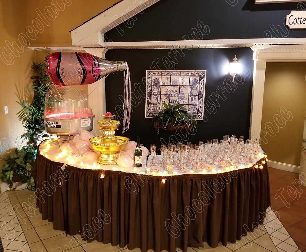 Champagne fountain bubble bar