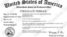CHOCOLATE TERRACE became a brand name officially registered with the United States Patent and Tradem