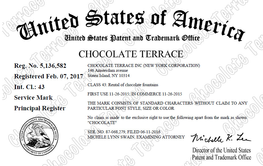 Chocolate Terrace brand USPTO registered