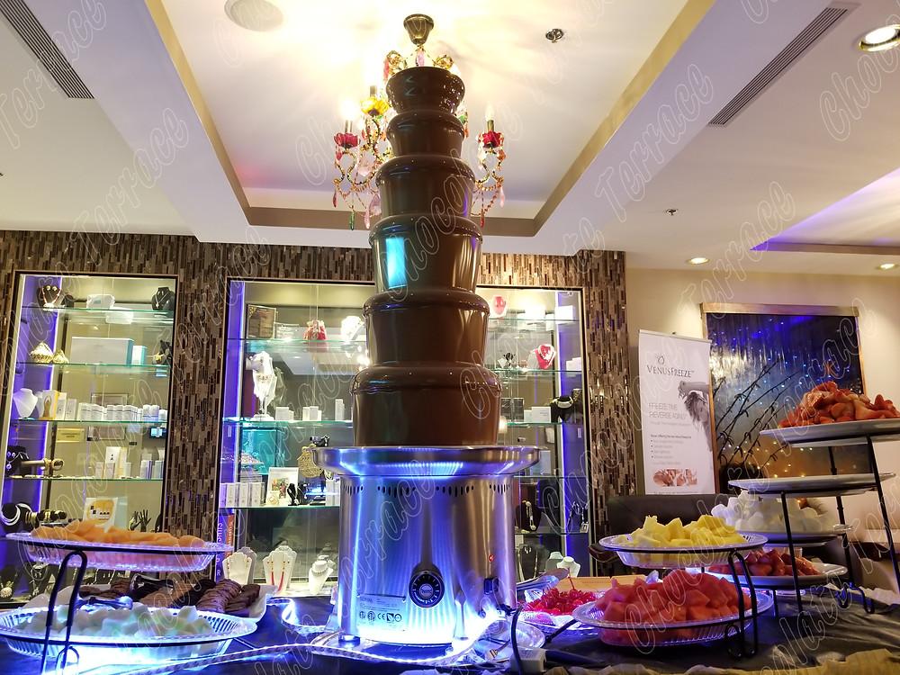 Chocolate Terrace Giant chocolate fondue fountain