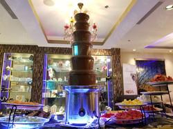giant chocolate fondue fountain