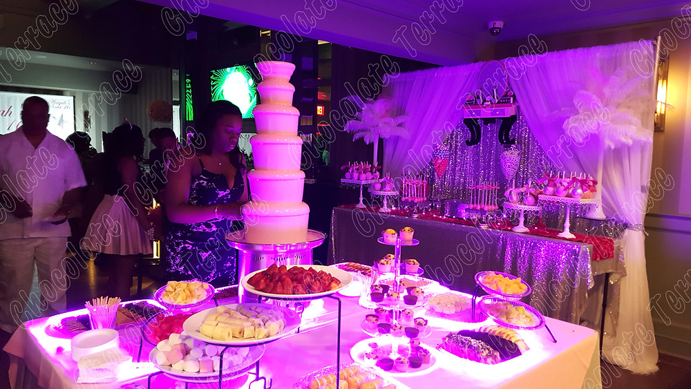 Sweet 16 & Quinceanera big pink chocolate fondue fountain New York